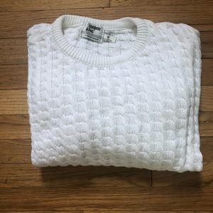 ⬇️58 VTG London Fog White Cable Knit Sweater M